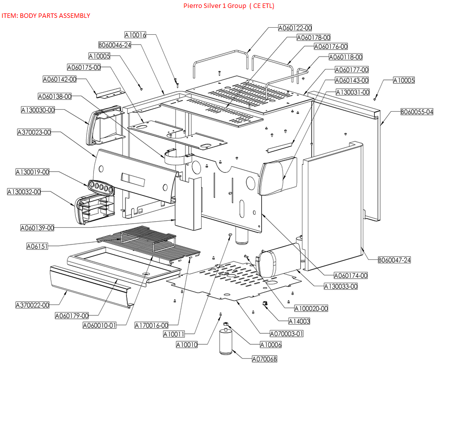pierro silver 1 group body parts diagram pierro coffee machines rh pierrocoffeemachines com nespresso machine parts diagram lg washing machine parts diagram